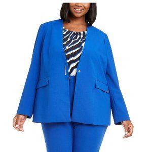Calvin Klein Plus Size Collarless V-Neck Blazer